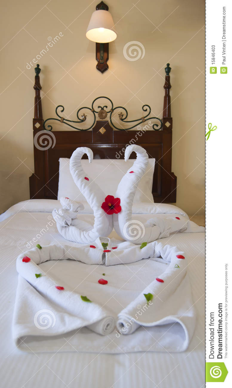 Decoration on a hotel bed stock photos image 15846403 - Decoration hotel ...