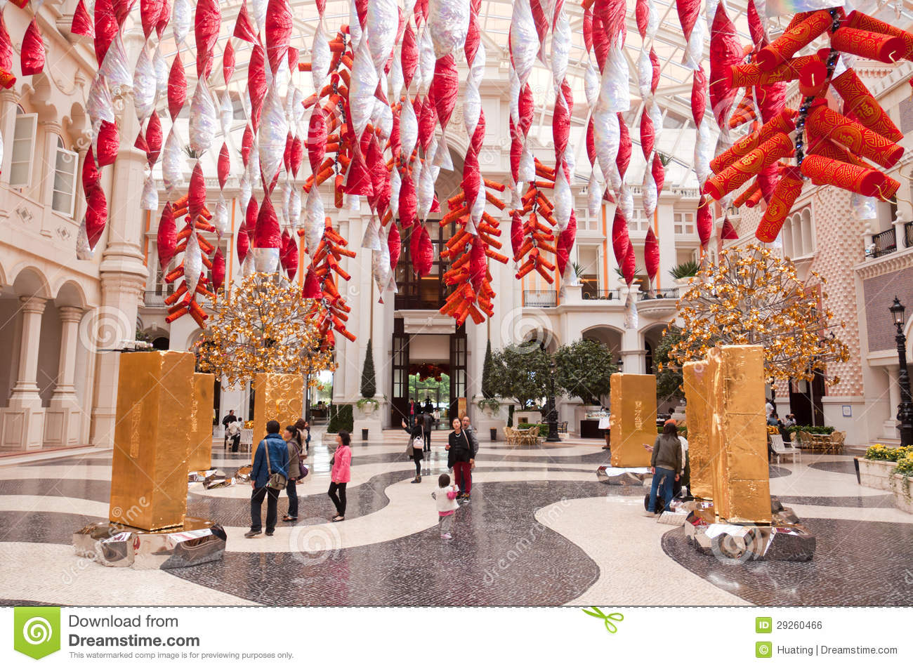 decoration in the hotel lobby macao editorial photo