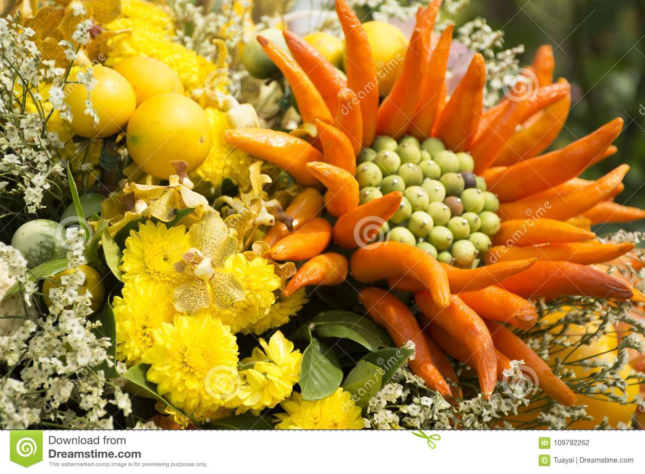 Decoration Made From Fruits And Vegetables And Flowers For Show ...