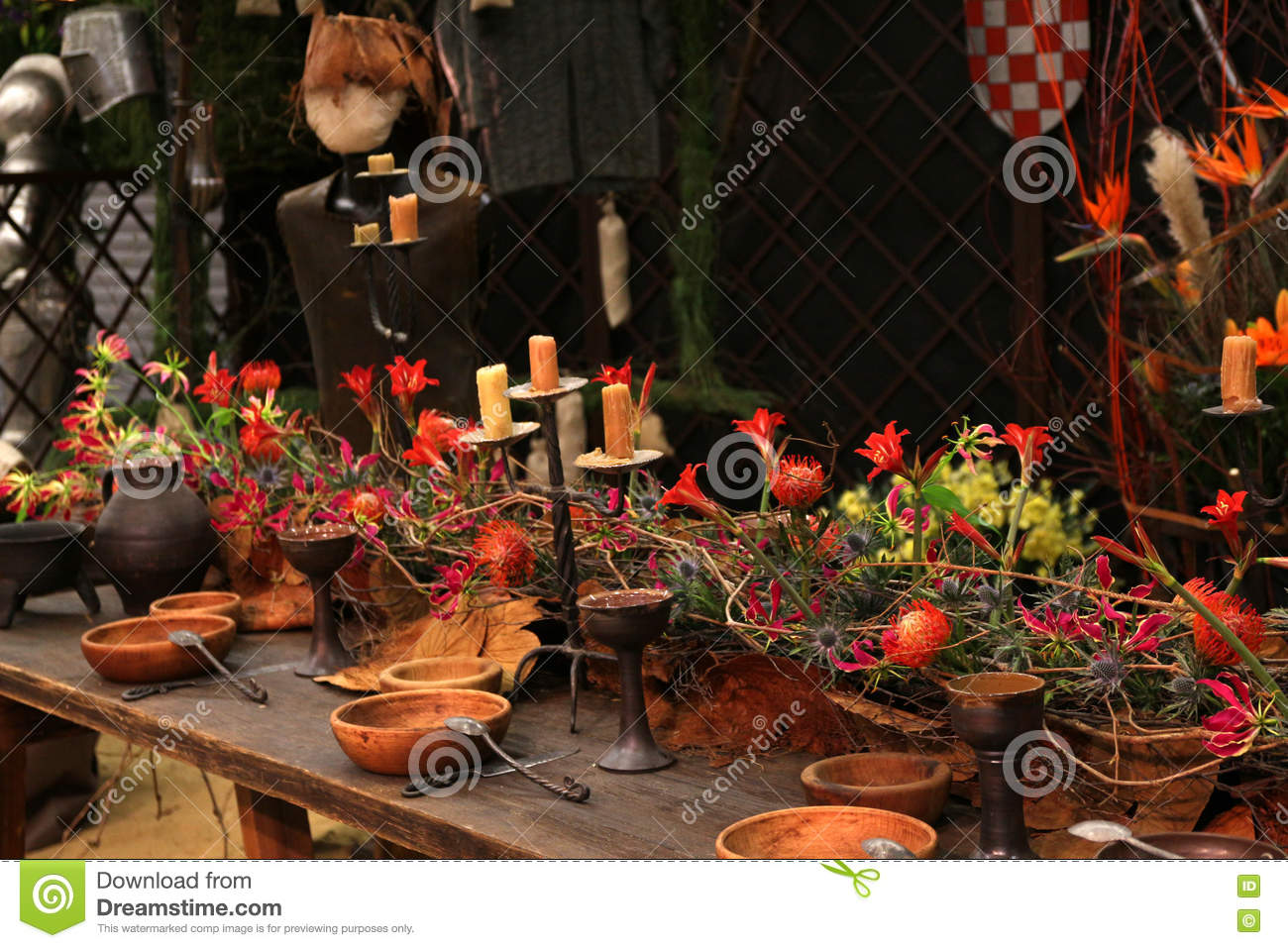 Decoration medieval feast in the castle stock photo for Photo decoration