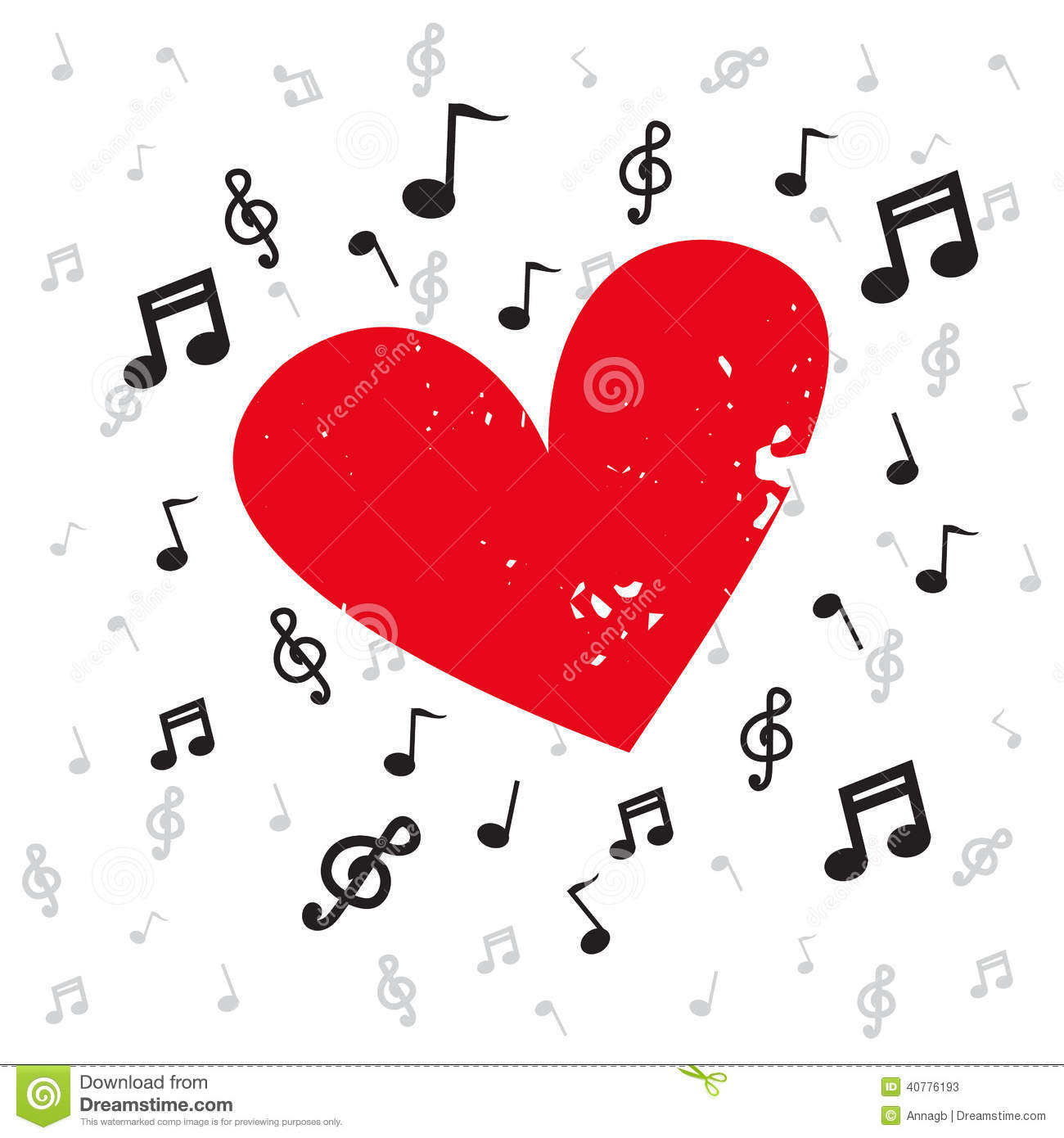 Decoration of musical notes with red heart grunge and background decoration of musical notes with red heart grunge and background music buycottarizona Images