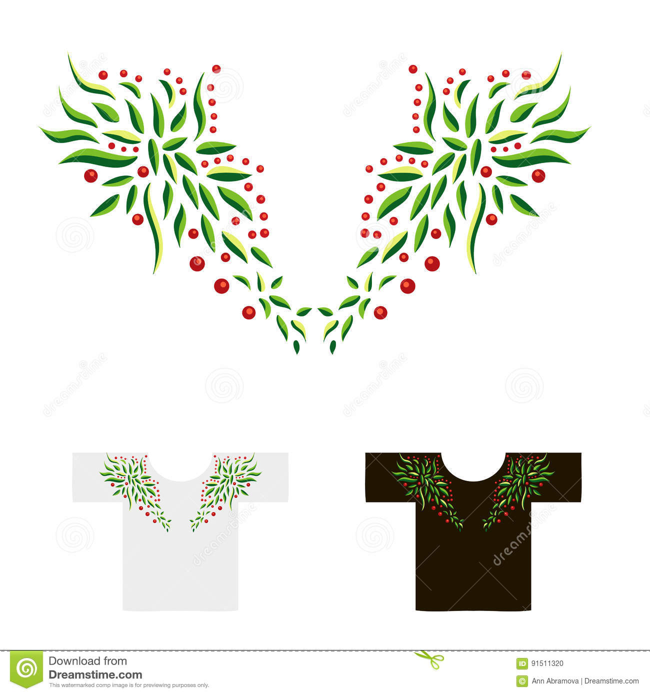 Decoration For Neck Embroidered With Leaves And Berries Vector I