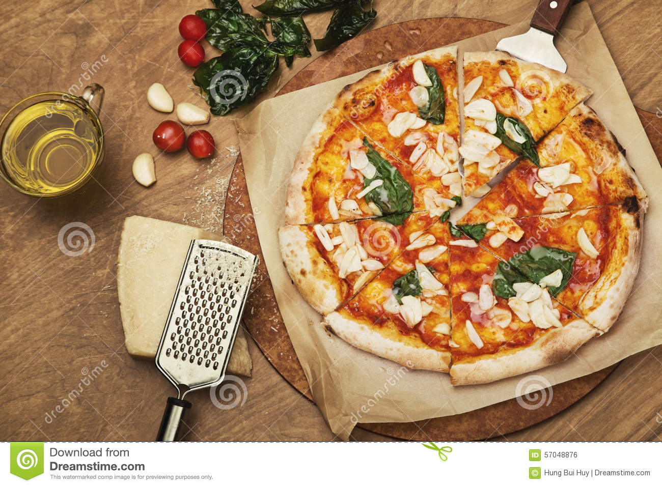 Decoration pizza on the wooden table stock photo image for Table a pizza