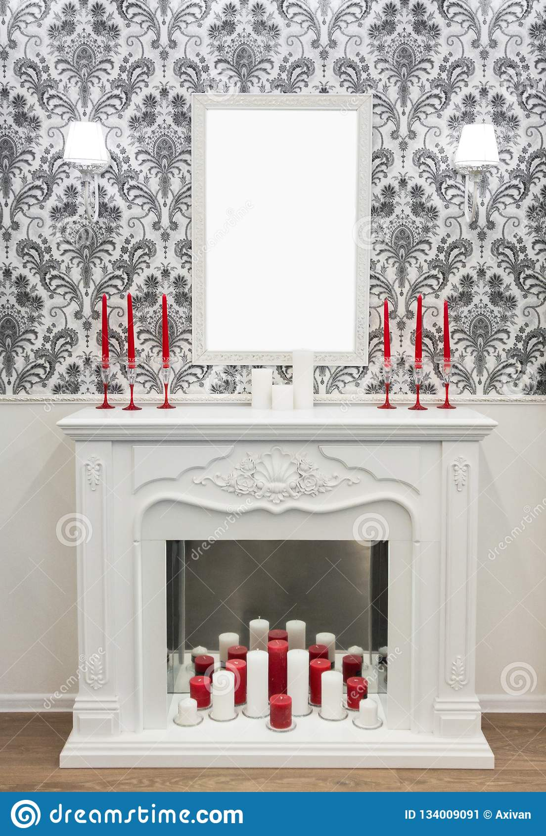 Decoration Placed On Top Of Fireplace Candles Lamp Blank