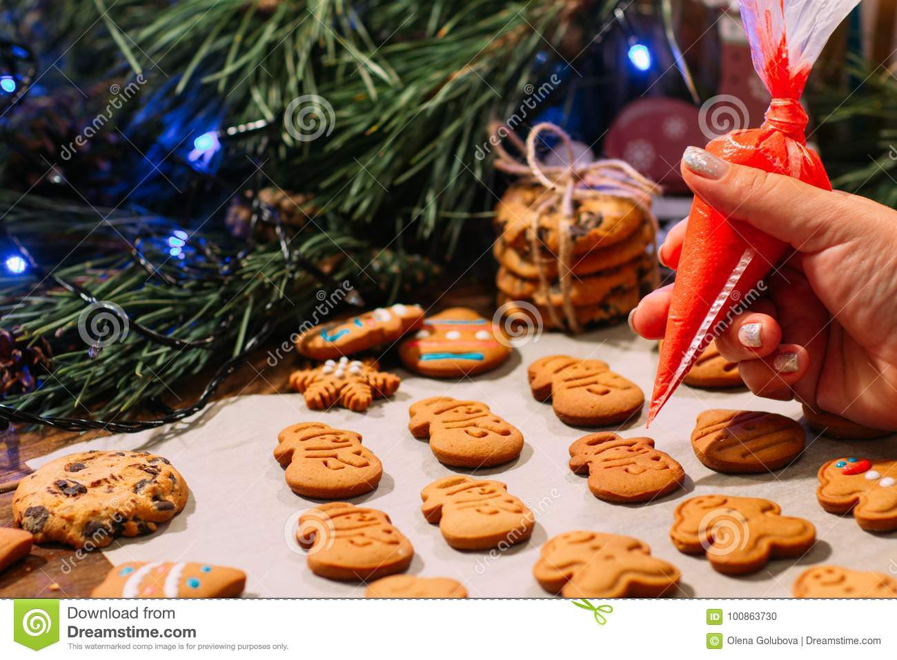 Decoration Process Of Christmas Bakery Stock Photo Image Of Skate