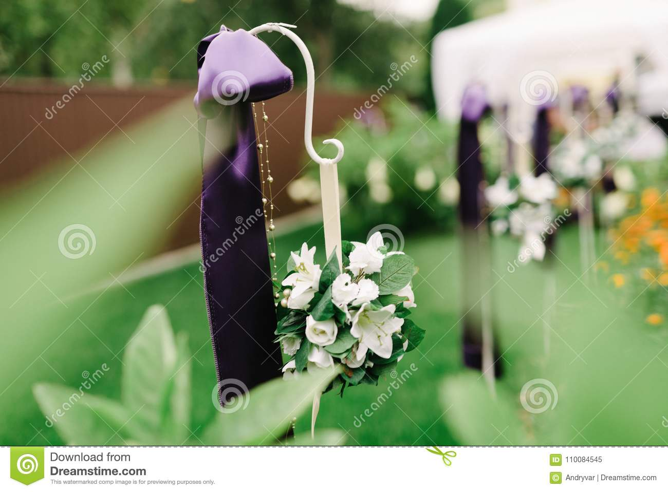Wedding Decorations In Violet Color Stock Image Image Of Bouquet