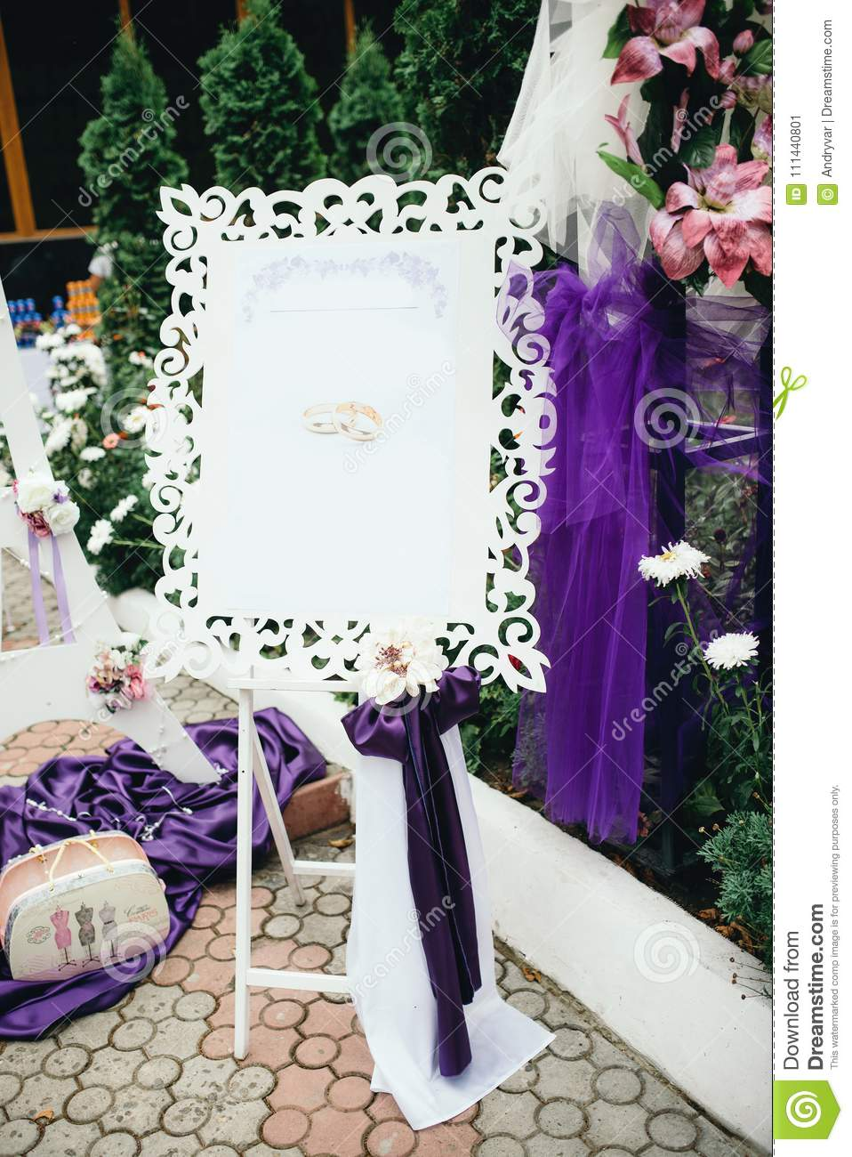 Wedding Decorations In Violet Color Editorial Photo Image Of