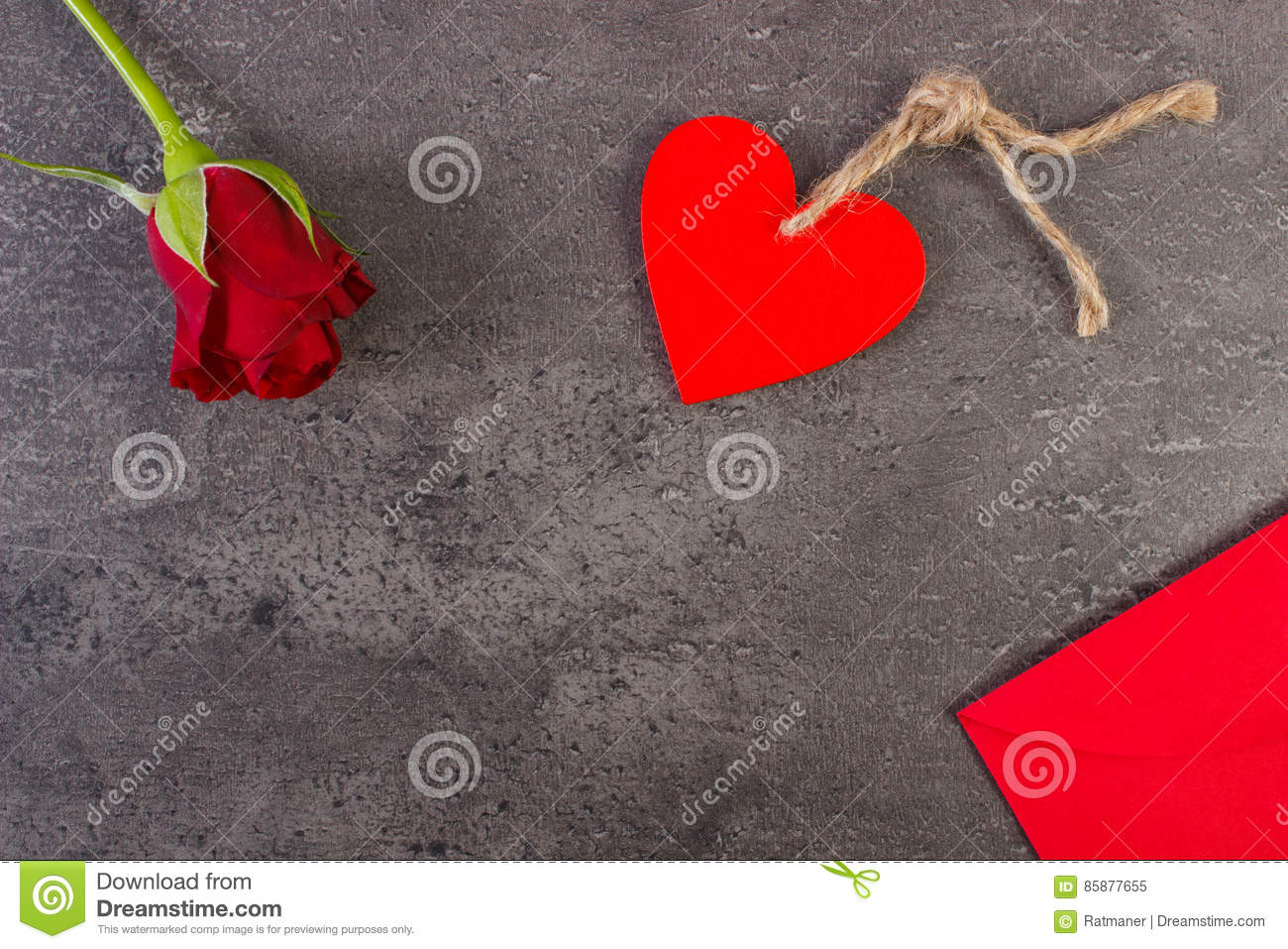 Decoration Of Red Rose Heart And Love Letter For Valentines Day