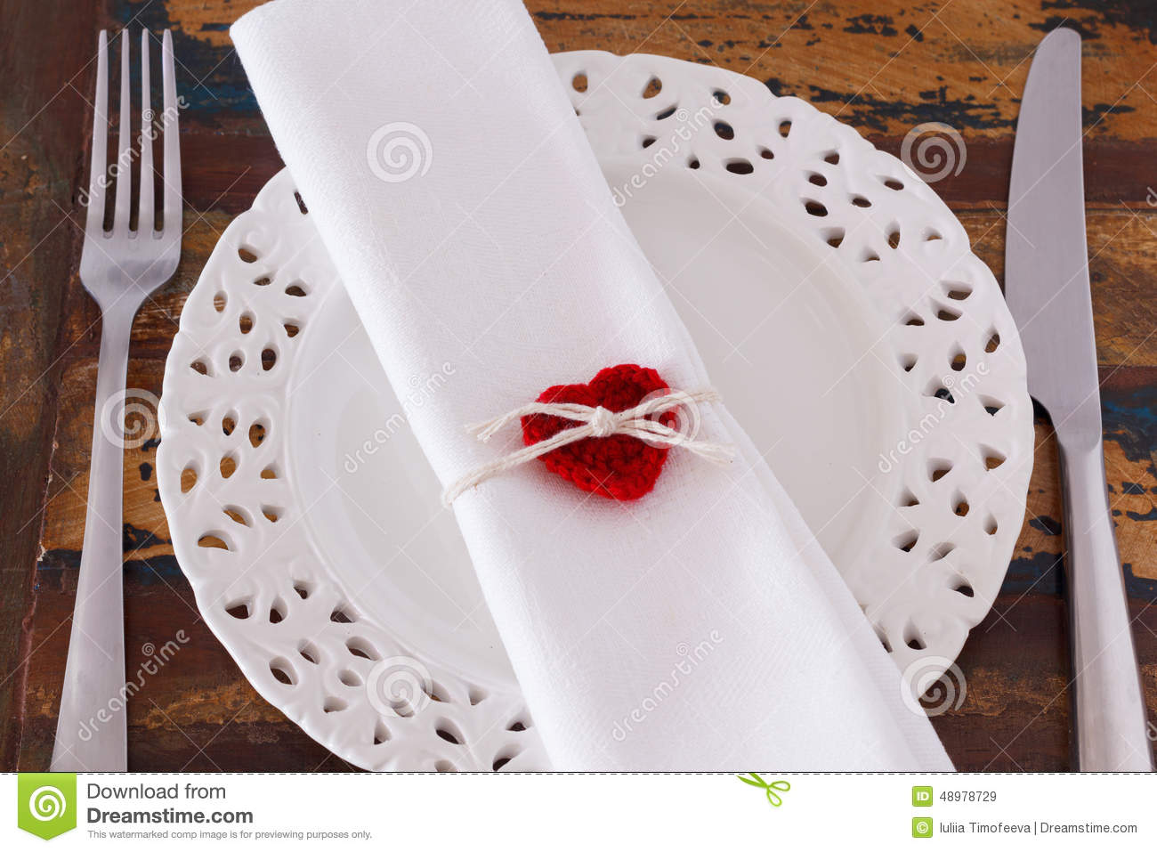 Decoration Saint Valentine S Day White Plate Serviette