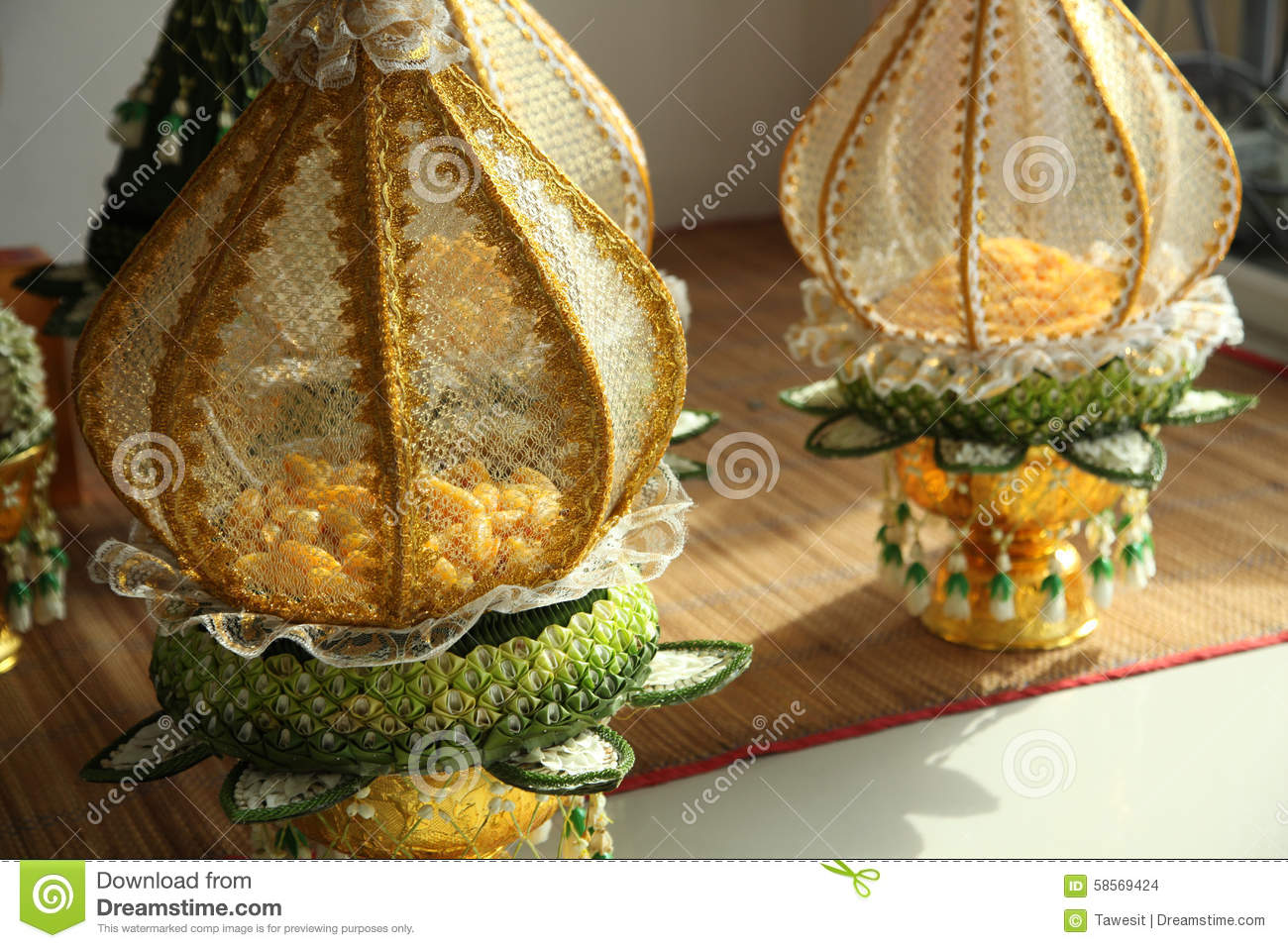 Decoration tray of thai traditional wedding gifts stock photo decoration tray of thai traditional wedding gifts junglespirit Images