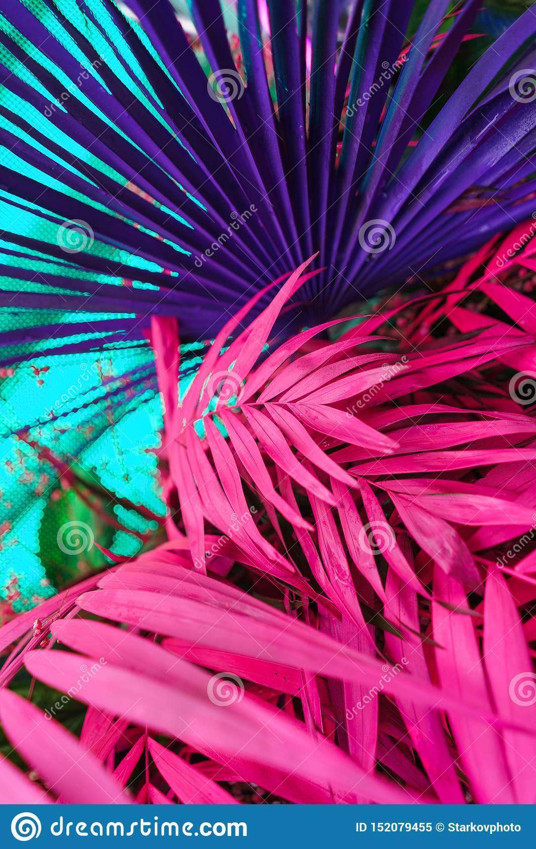 Decoration of tropical leaves painted in bright neon colors.