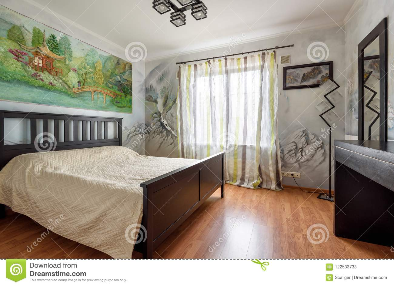 Decoration With Wall Paintings Of A Bedroom Modern Interior ...