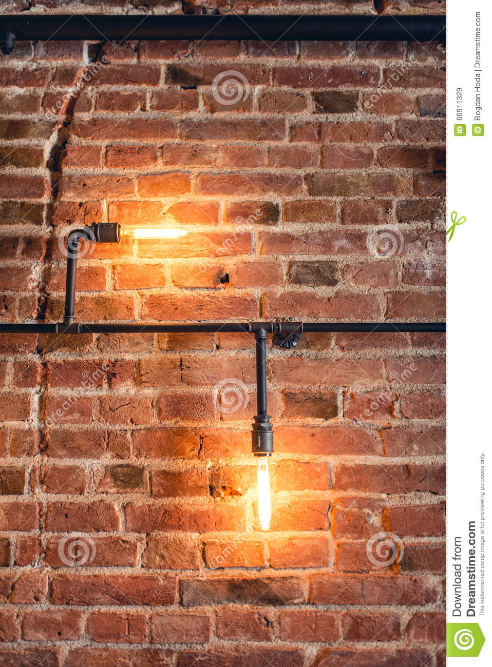 Decoration Walls With Lamps, Pipes And Bricks. Old And Vintage Looking Wall, Interior Design ...