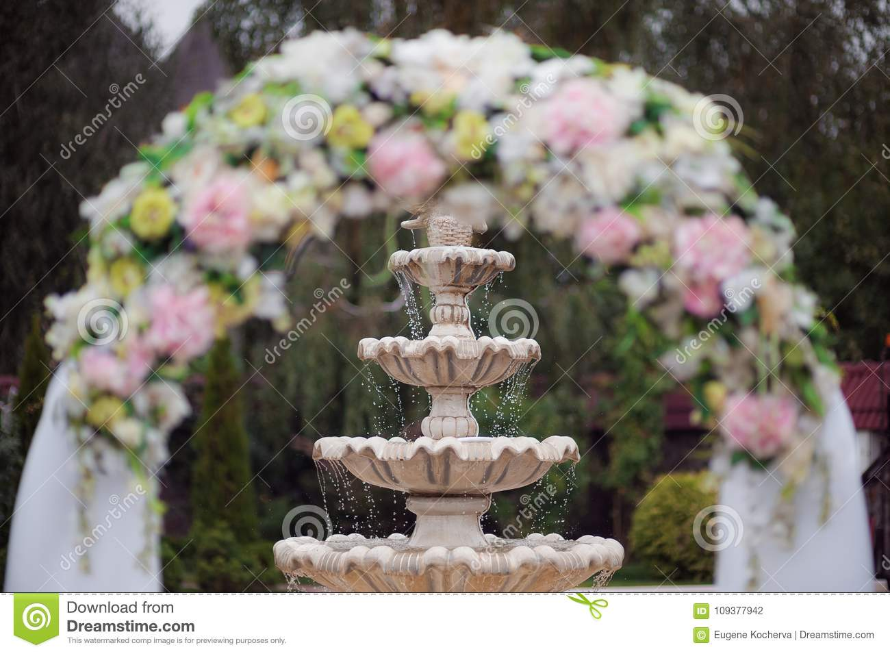 Decoration Of A Wedding Ceremony An Arch From Flowers Against The