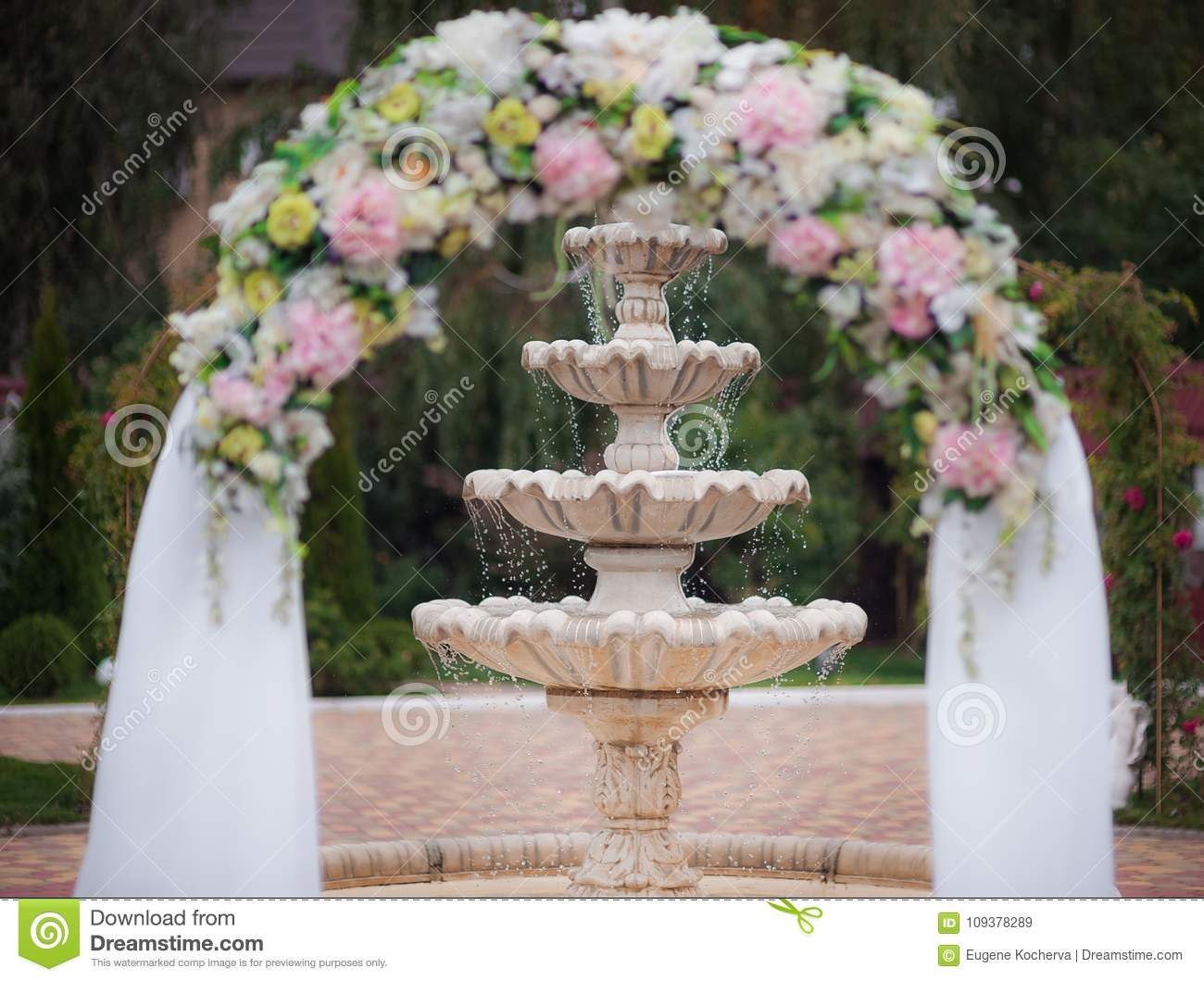 Decoration Of A Wedding Ceremony - An Arch From Flowers Against The ...