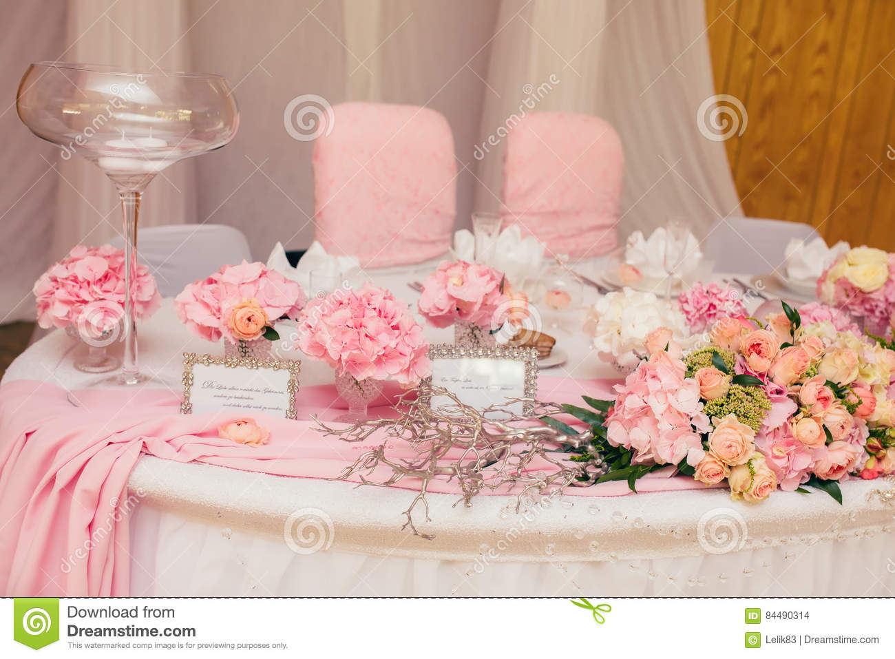 Decoration Wedding Flowers Rings Stock Photo - Image of decor, table ...