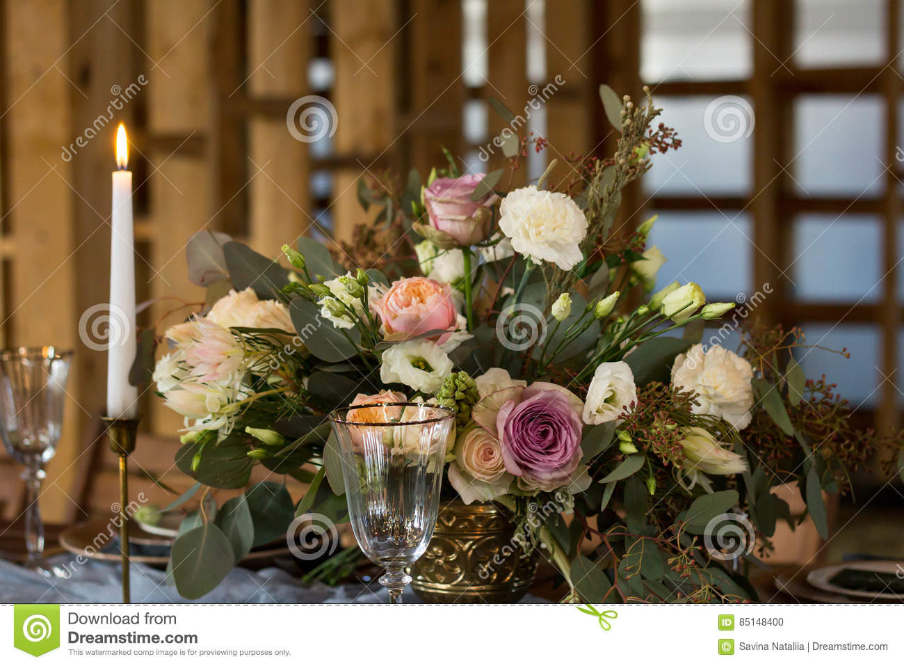 Decoration Wedding Table Before A Banquet Vintage Style