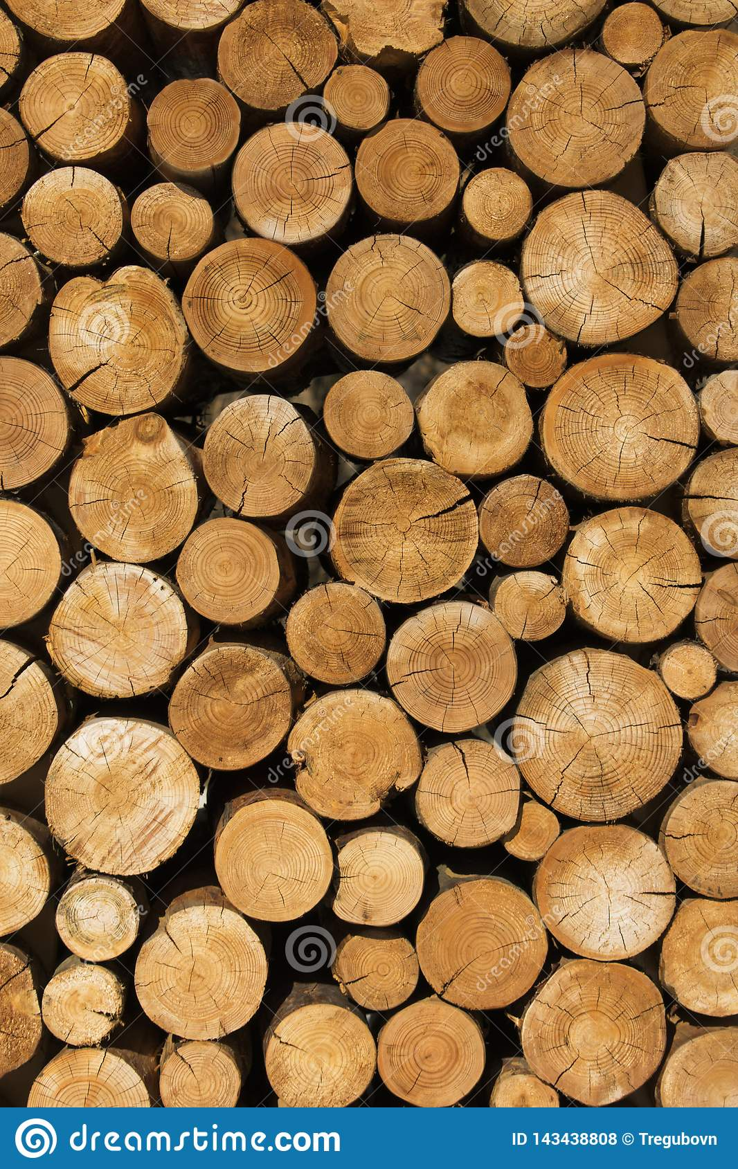 The decoration of wooden logs. Decor