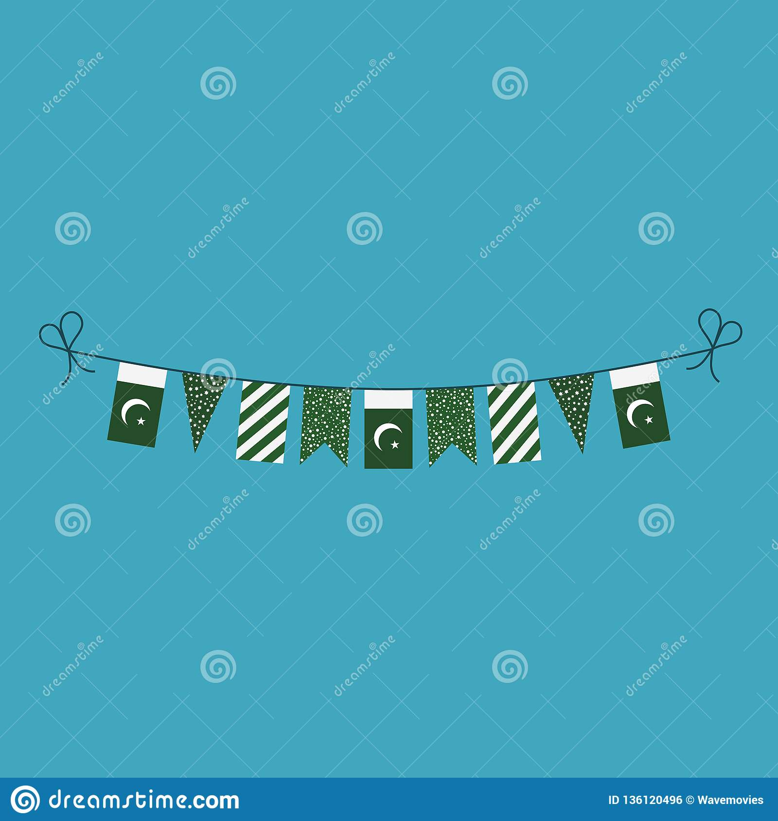 Decorations bunting flags for Pakistan national day holiday in flat design