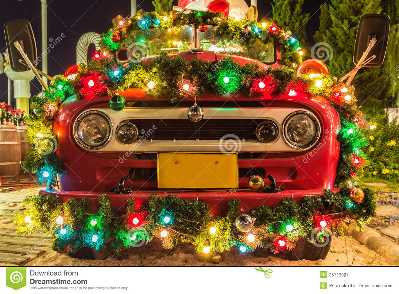 Christmas Car Decorations.Decorations Of Christmas Stock Image Image Of Gift Green