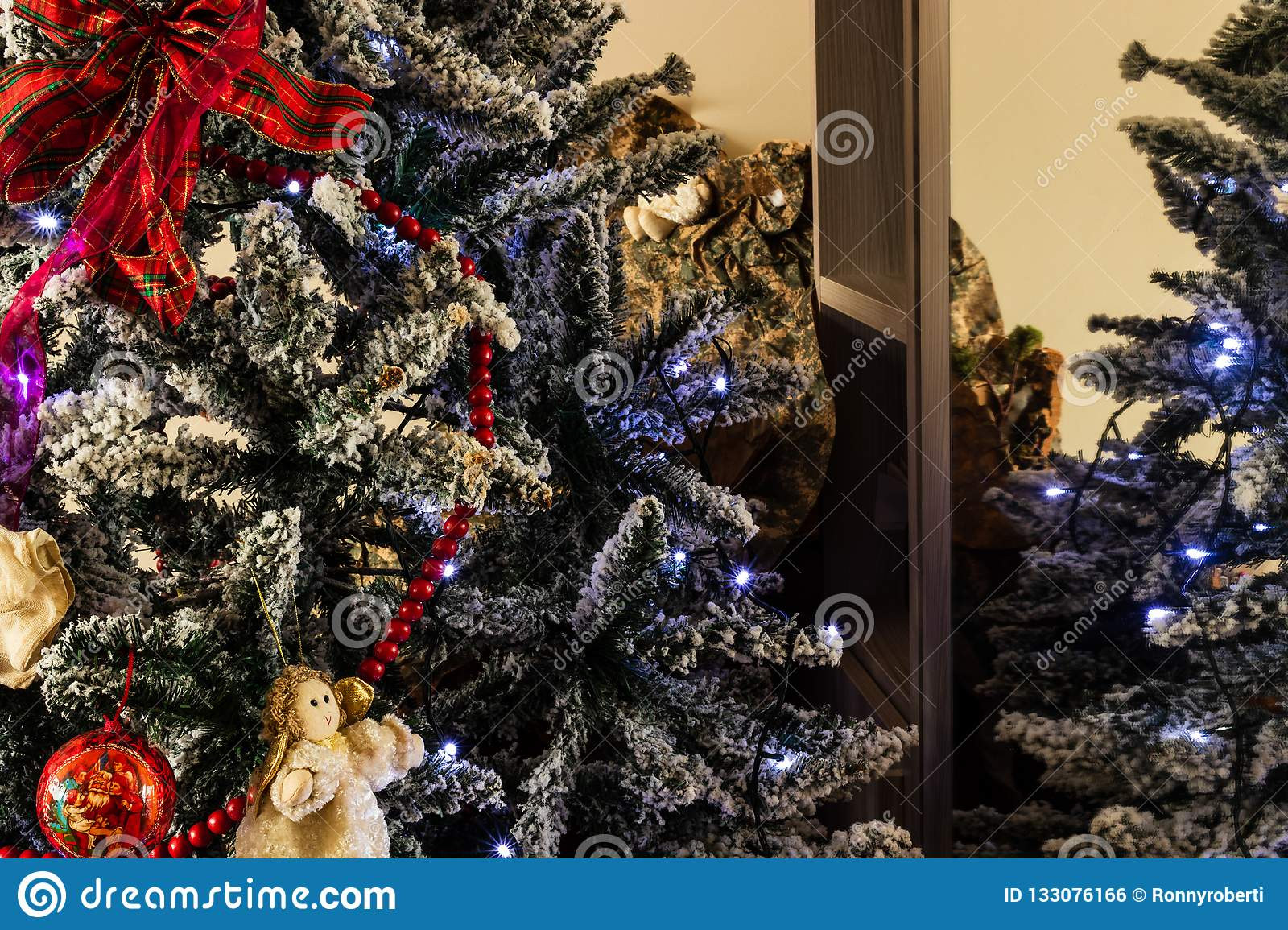 Living Room Christmas House Decorations Inside.Christmas Tree In The House Stock Photo Image Of Home