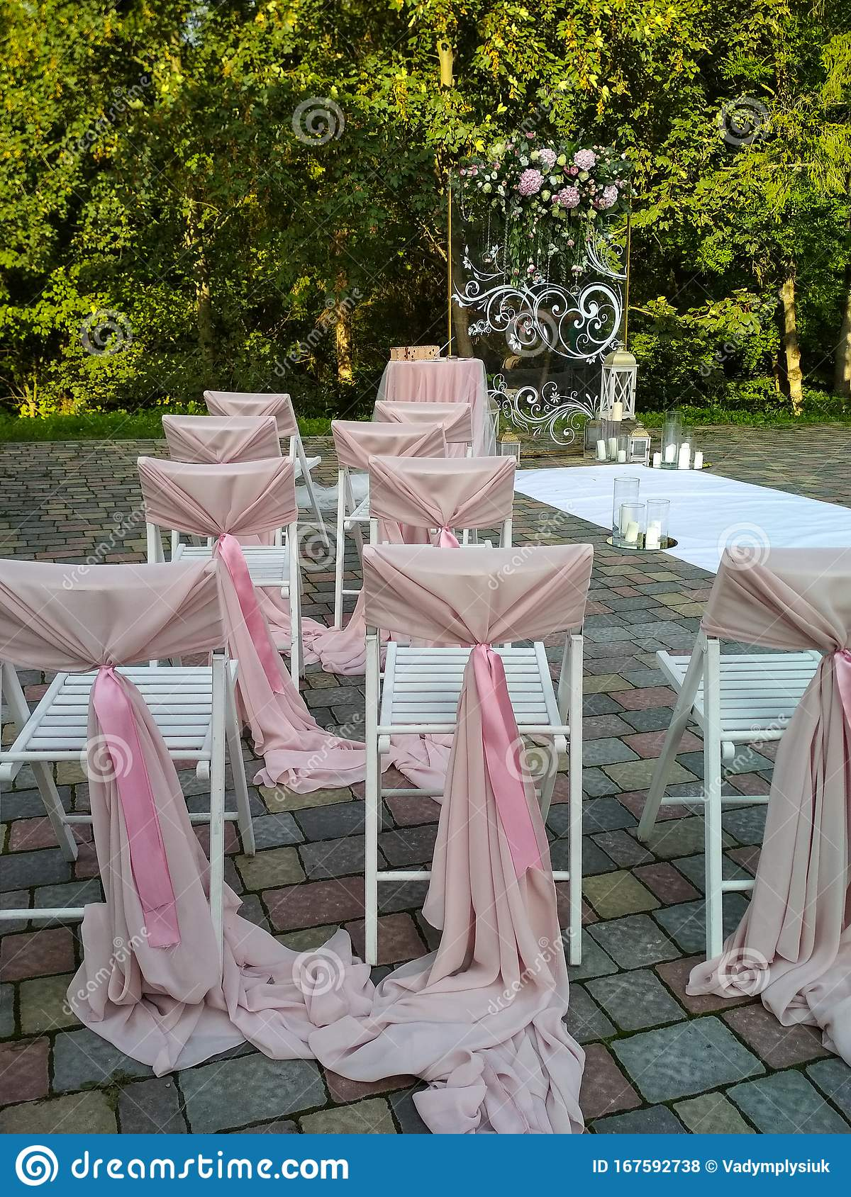Image of: Decorations Outdoors For Wedding Ceremony Light Pink Arch With Flowers In The Park Vertical Photo Stock Photo Image Of Garden Decoration 167592738