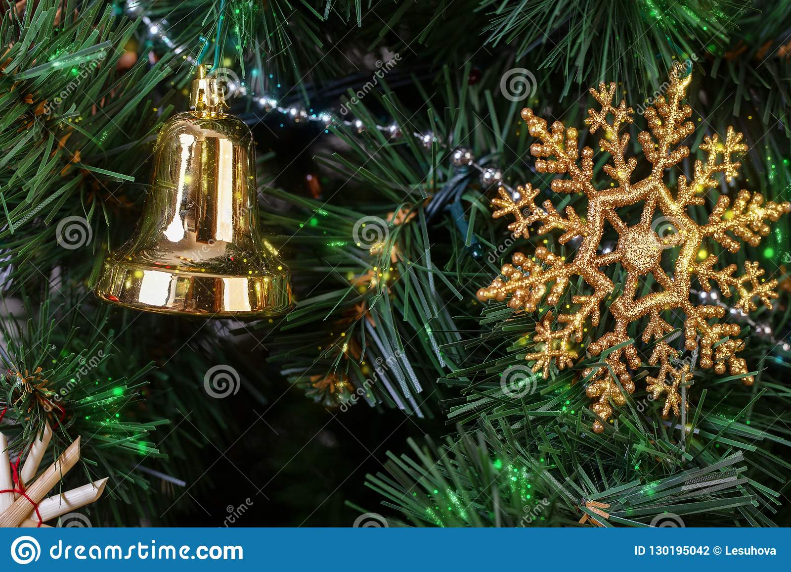 Vintage Artificial Christmas Trees.Decorations In The Scandinavian Style On An Artificial