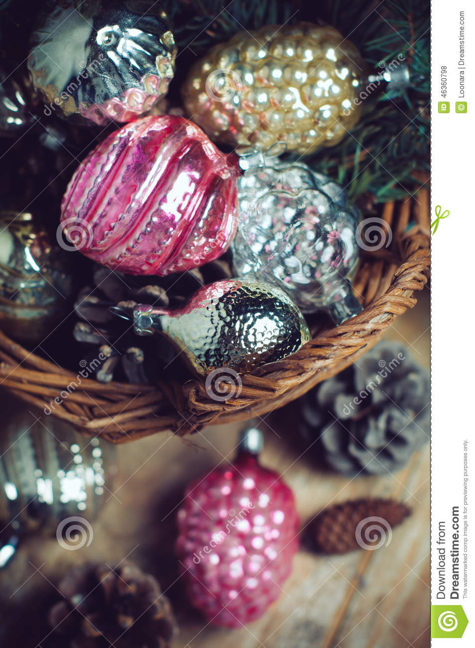 Decorations In A Wicker Basket Stock Photo Image 46360798