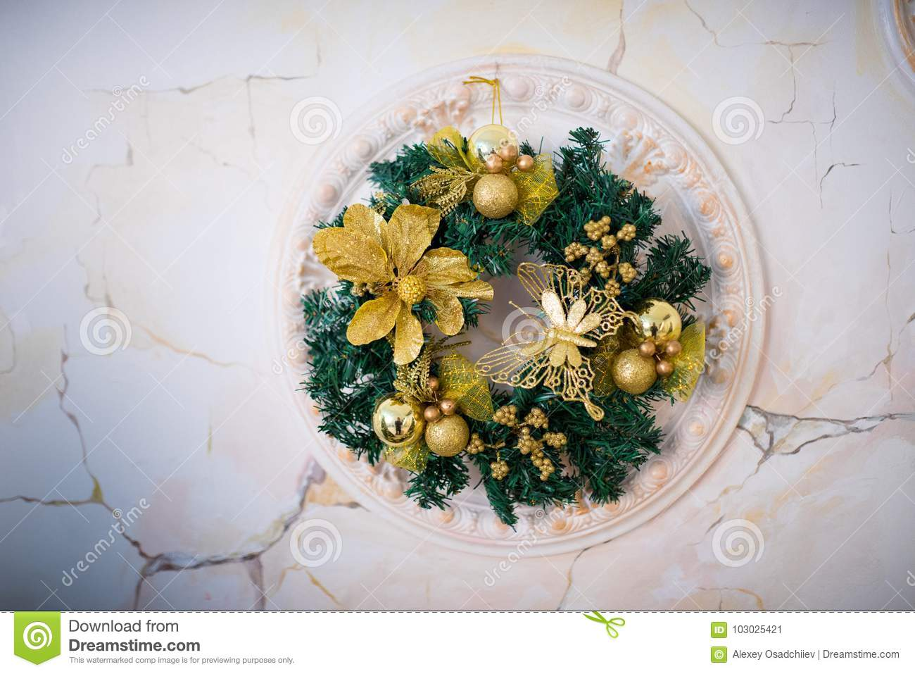 Decorations Wreath At The Wall Stock Image Image Of Copy Door