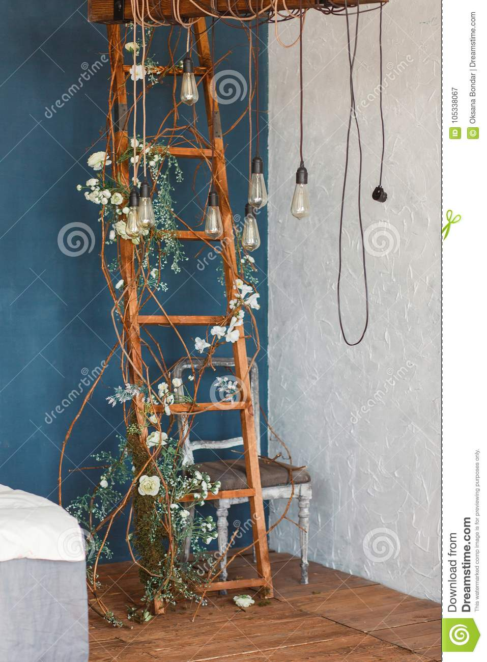 Decorative Antique Edison Style Light Bulbs Against Wooden Ladder Background Lights On The Background Of Blue Wall Stock Image Image Of Backdrop Antique 105338067