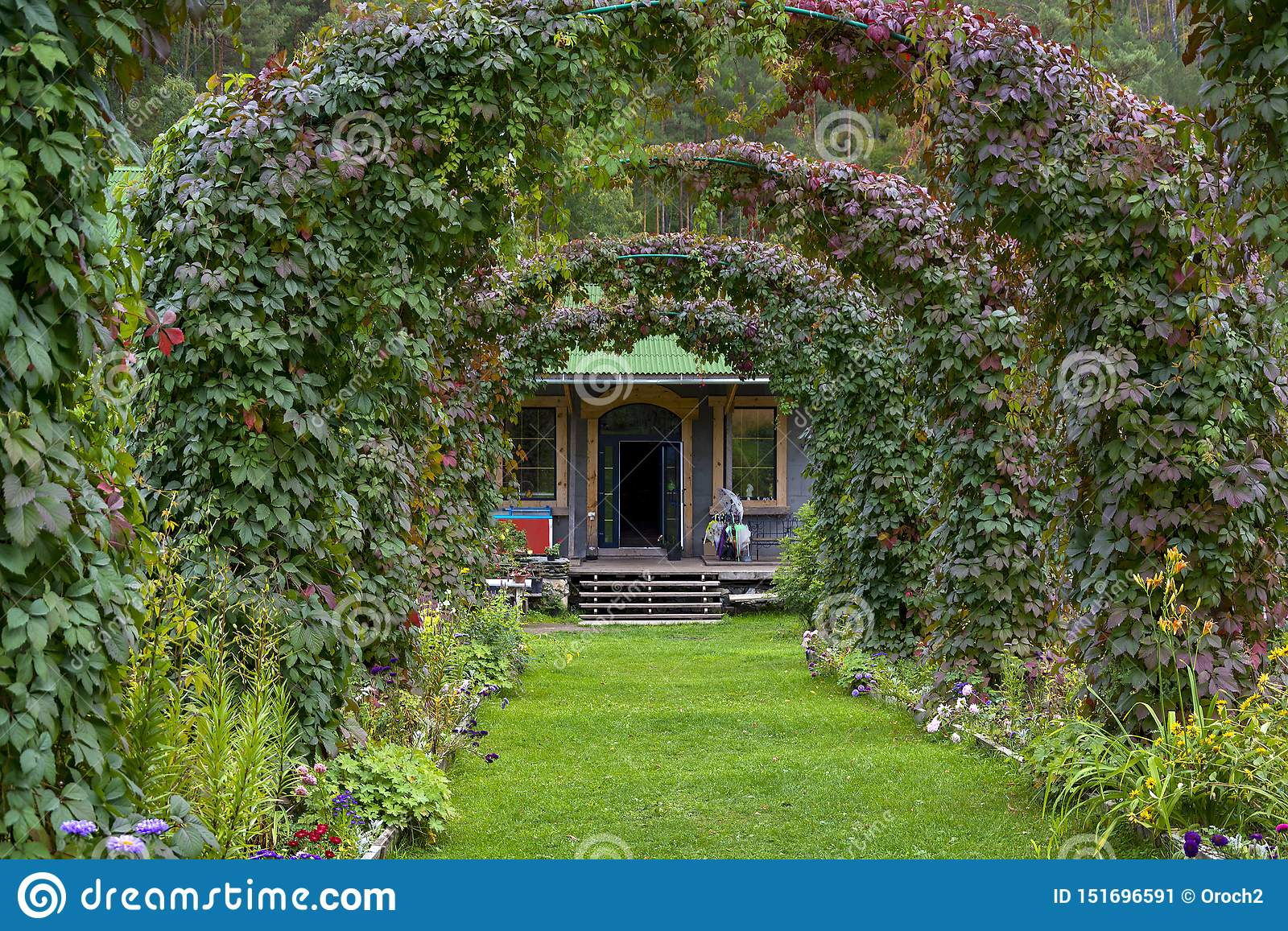 Decorative Arches In A Beautiful Garden Stock Image Image