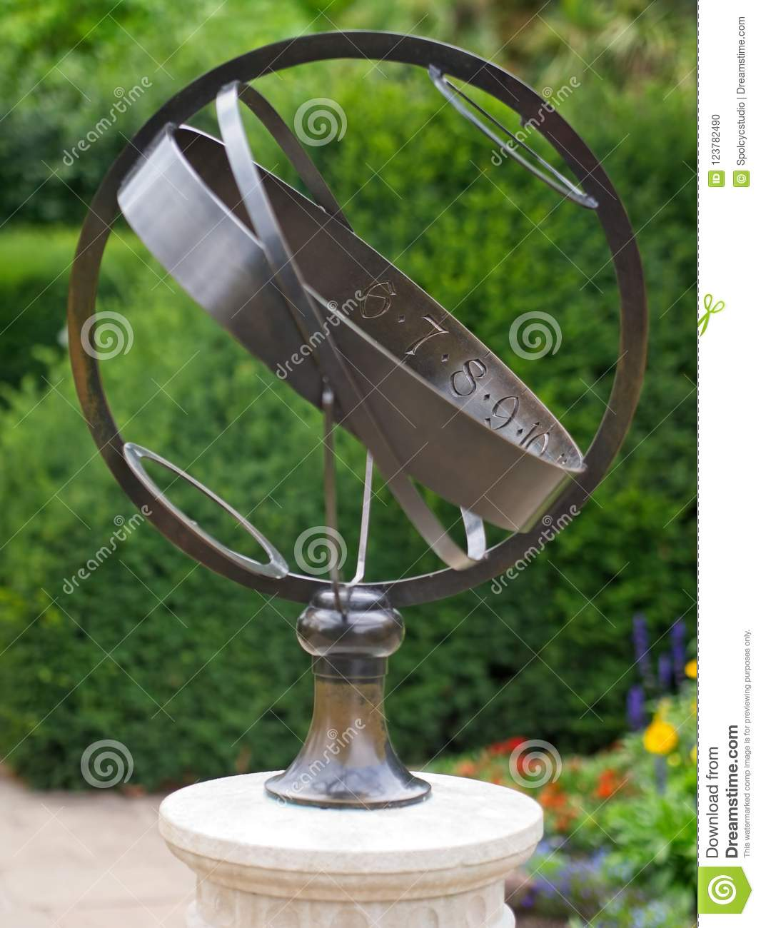 Download Decorative Armillary Sphere Globe Metal Sculpture. Stock Photo    Image Of Garden, Outdoor