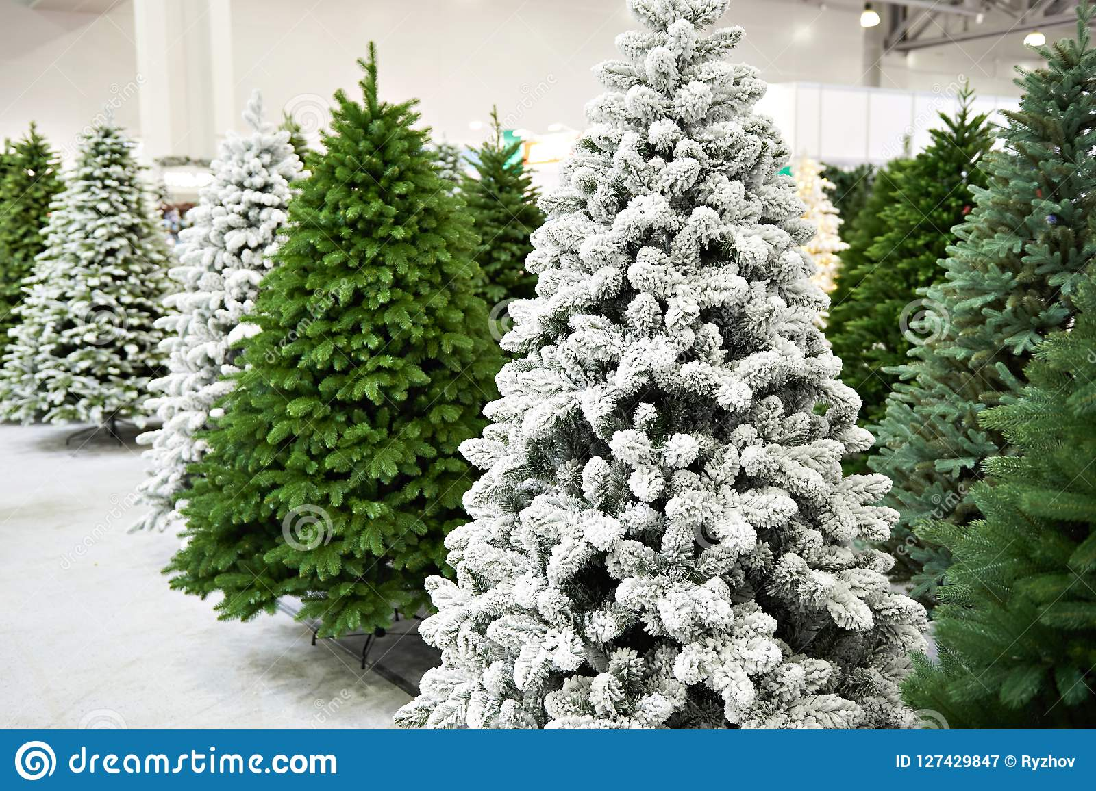 decorative artificial christmas trees in store