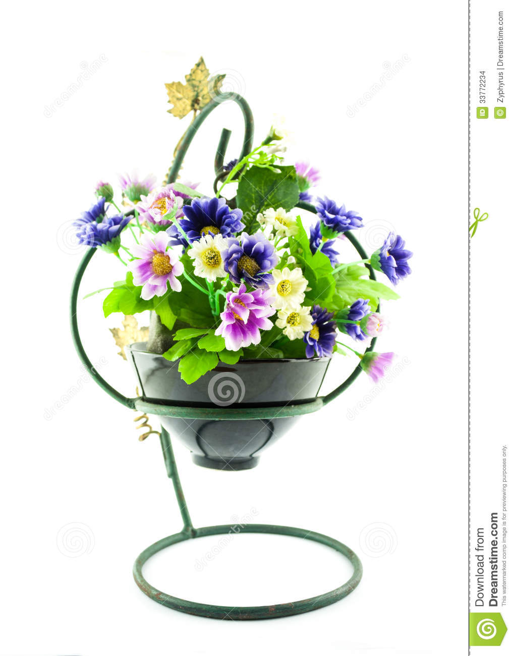 254 & Decorative The Artificial Flowers In Pot Stock Photo - Image ...