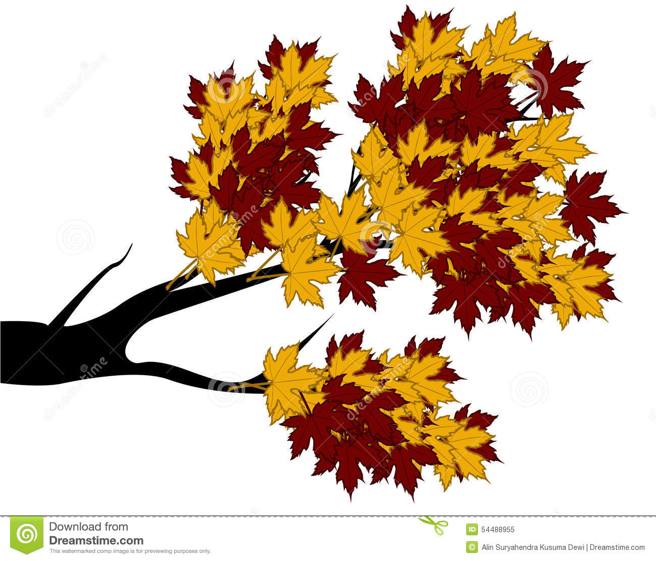 decorative autumn branch tree silhouette with brown leaves