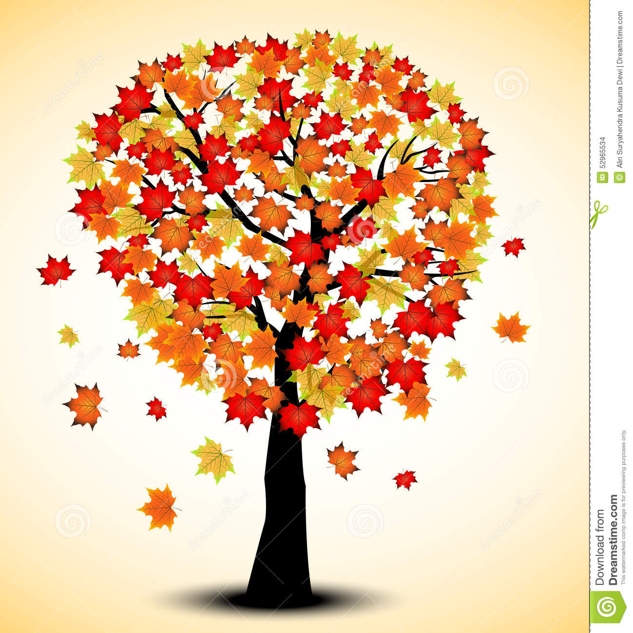 Decorative Autumn Tree Silhouette With Brown Leaves