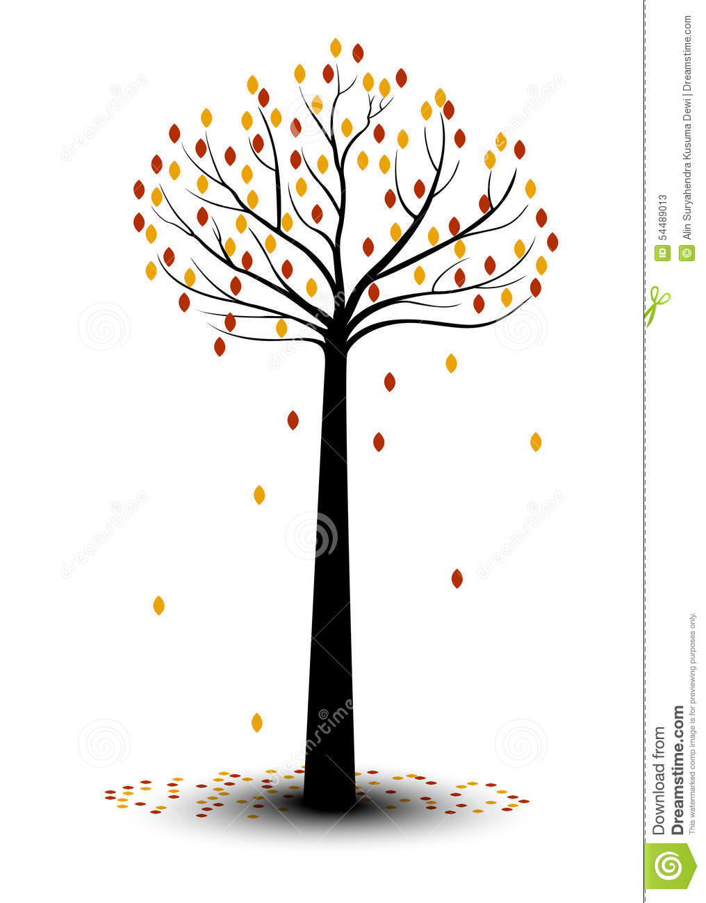 Decorative Autumn Tree Silhouette With Brown Leaves Stock Vector ...