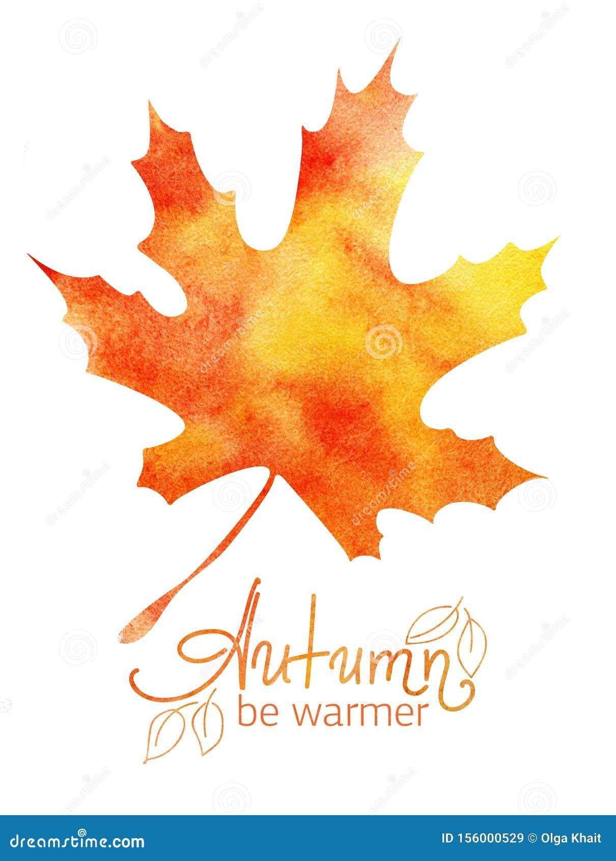 Decorative background. Autumn Maple Leaf Orange Yellow Gradient. Handwritten word lettering Autumn. Abstract watercolor