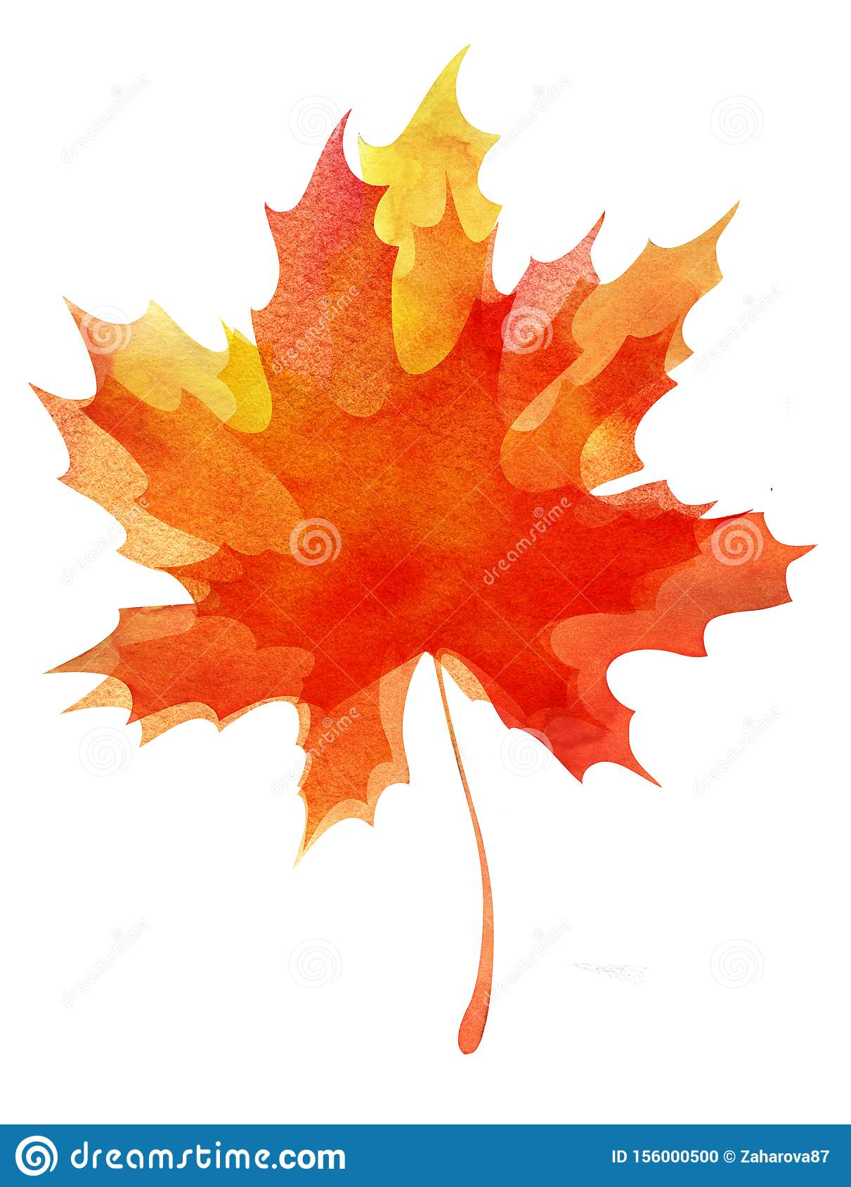 Decorative background. Multilayer autumn maple leaf. Orange-yellow gradient. Abstract watercolor fill. Hand drawn