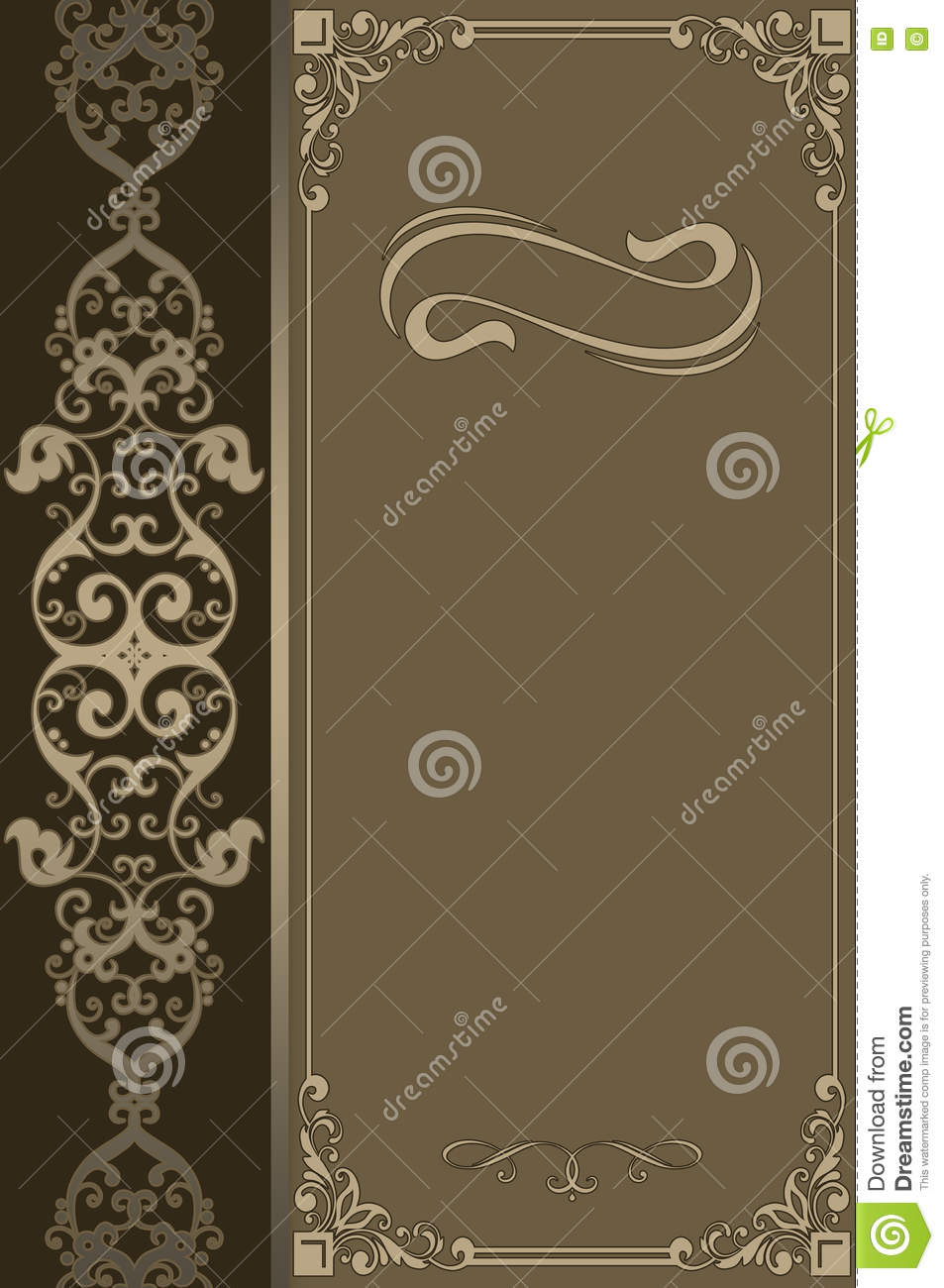 Old Fashioned Book Cover Design ~ Decorative background with vintage border and ornament