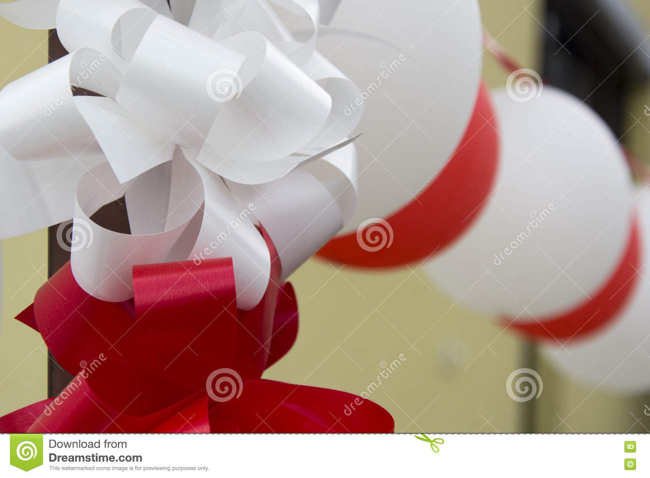 Decorative Balloons And Ribbons For Wedding Stock Photo - Image of