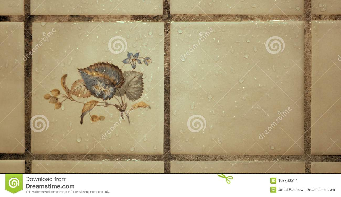 Decorative Floral And Plant Artistic Ceramic Tile With Water Drops