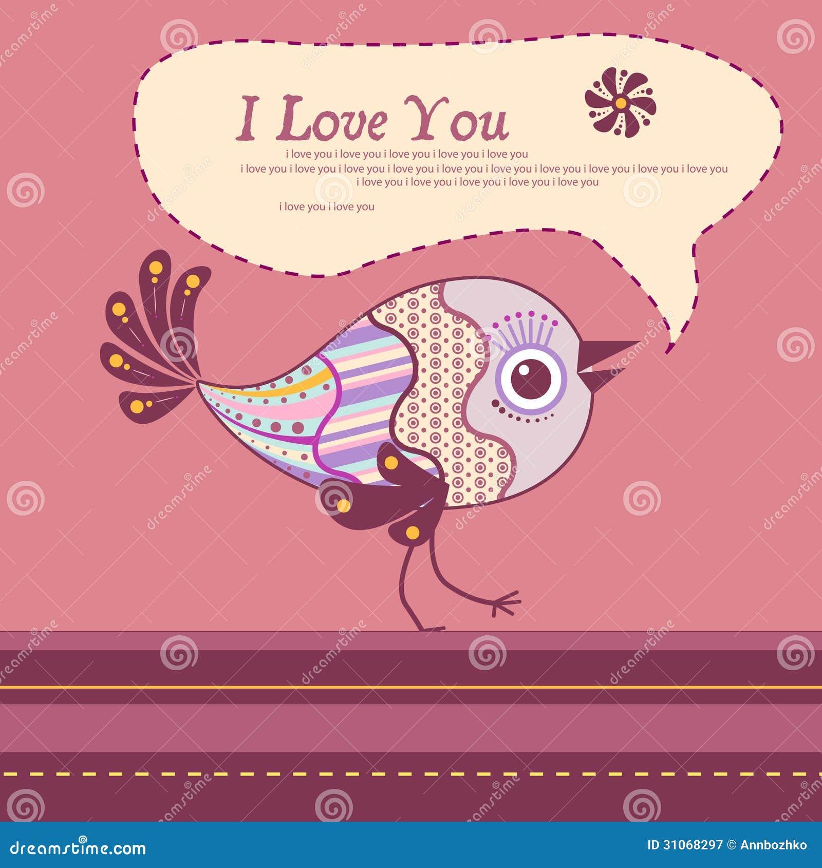 Decorative Bird Valentine Card Royalty Free Photography – Bird Valentine Card