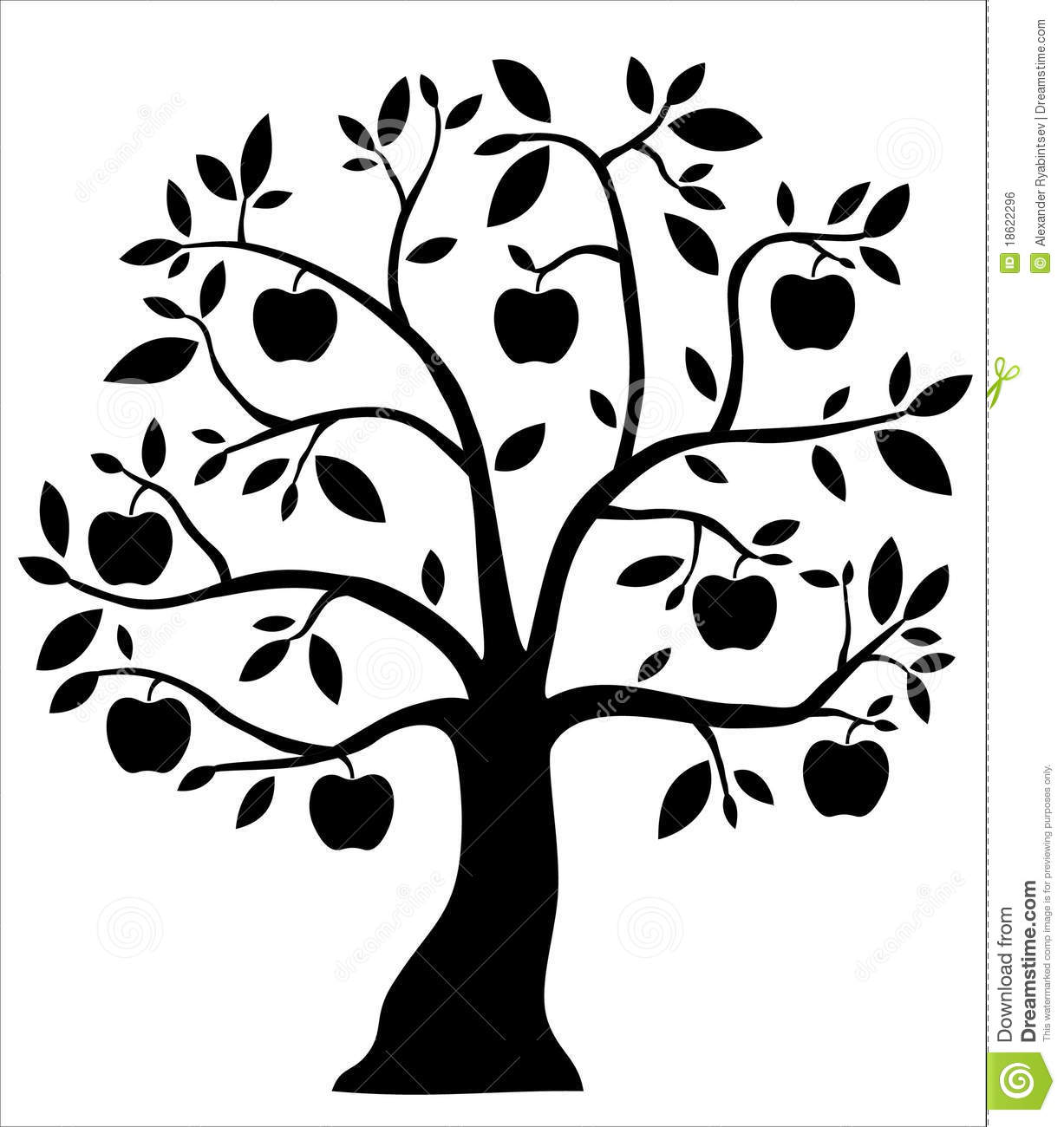 apple tree clipart black and white. royalty-free stock photo. download decorative black apple tree clipart and white
