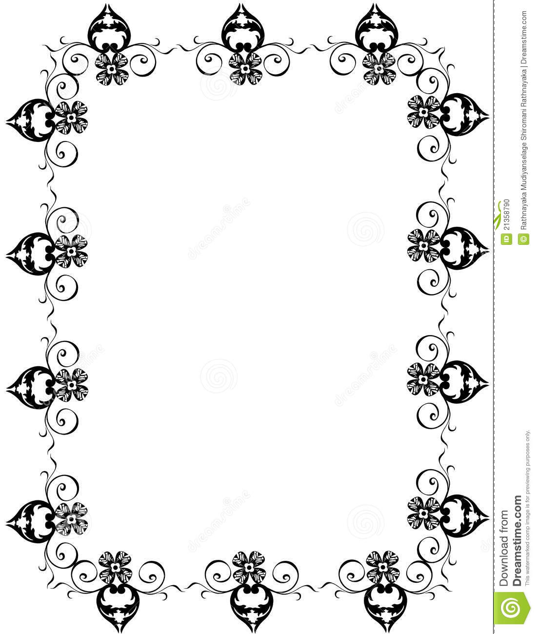 Decorative Black Flower Border Stock Image