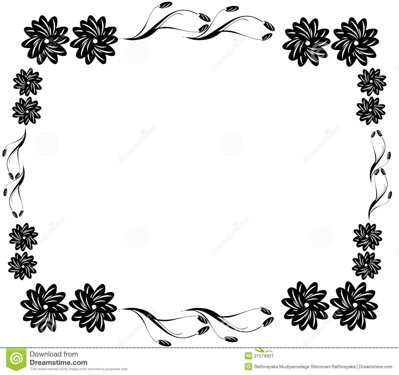Decorative black flower border stock illustration illustration of decorative black flower border mightylinksfo Image collections