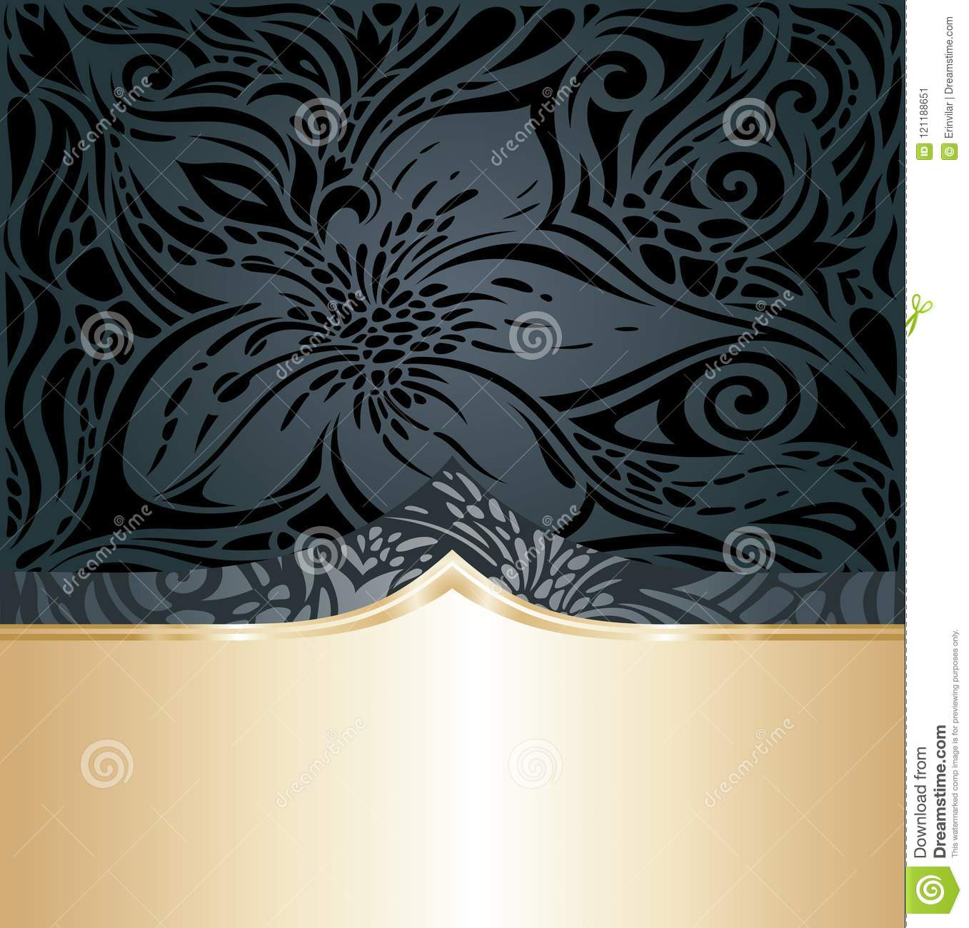 Decorative Black Gold Floral Luxury Wallpaper Background Trendy Fashion Design With Golden Copy Space