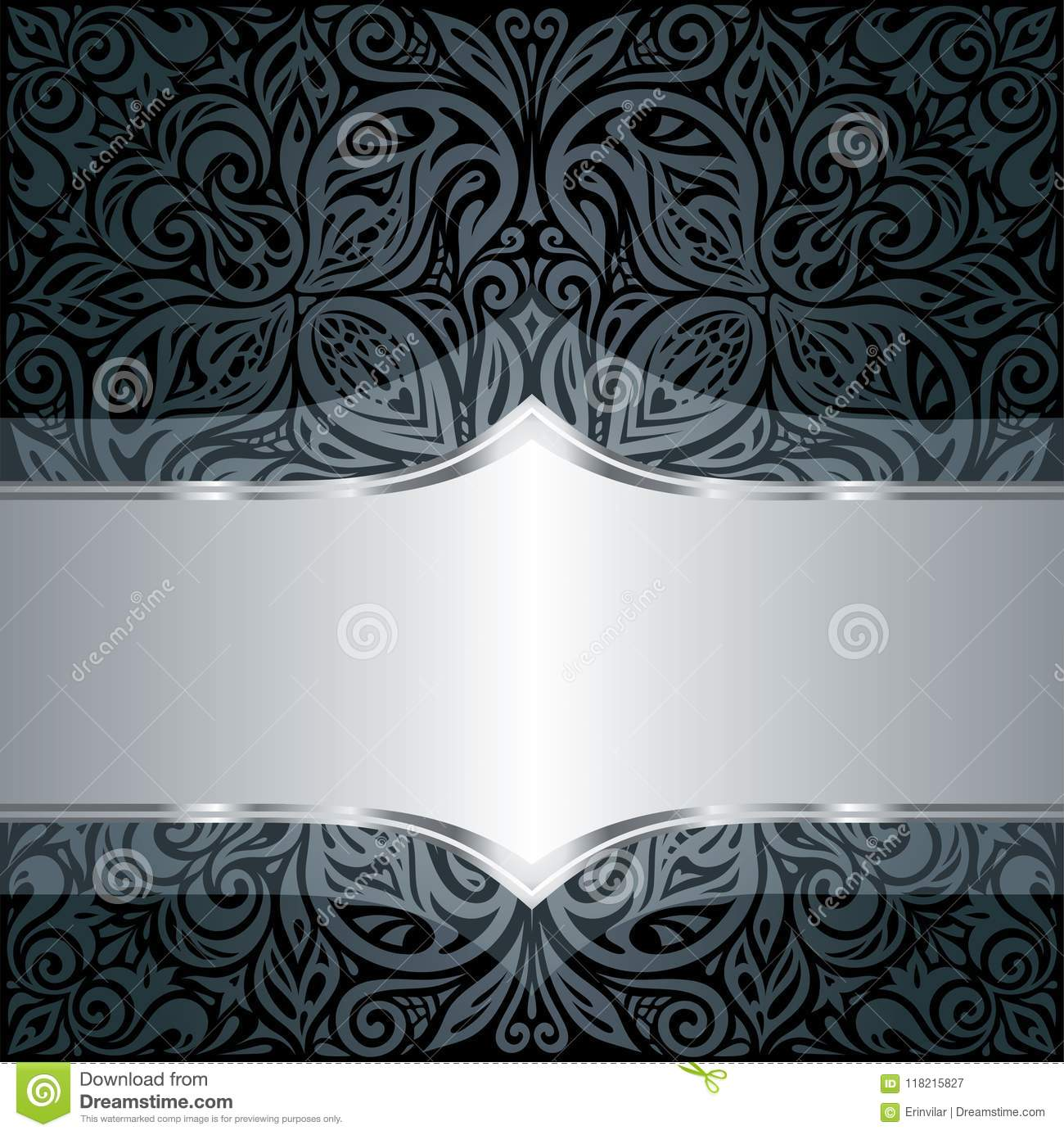 Decorative Black Silver Floral Luxury Wallpaper Background With Trendy Design