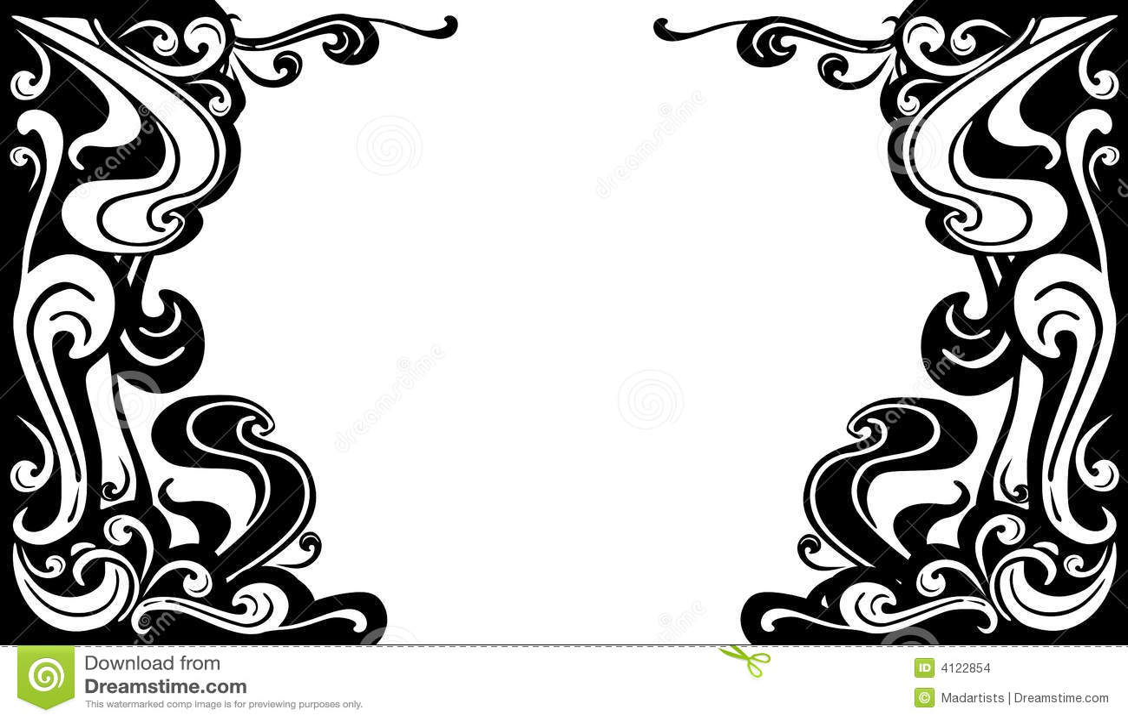 Decorative Black White Flourishes Borders Stock Illustration