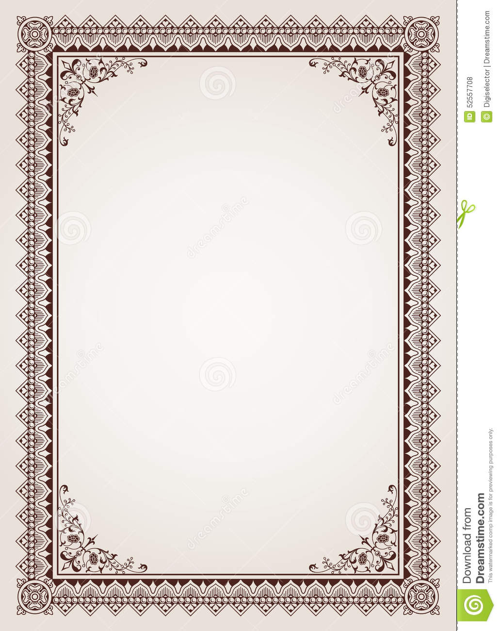 Decorative Border Frame Certificate Template Vector Stock Vector ...